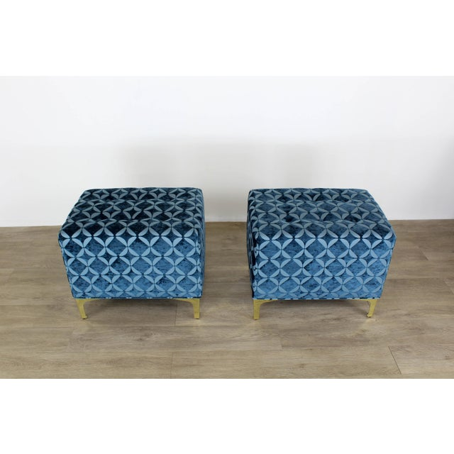Blue Vintage Blue Chenille Ottoman- a Pair For Sale - Image 8 of 9