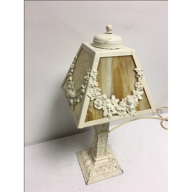 Mid-Century Modern Charming Vintage Shabby Chic Slag Glass Lamp For Sale - Image 3 of 5