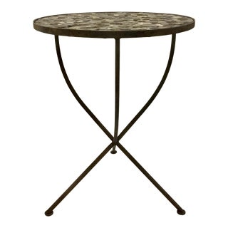 Arteriors Industrial Modern Round Iron Side Table With Multi Mini Discs For Sale