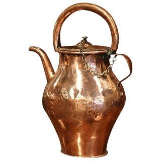 18th Century French Polished Copper Hot Water Pitcher For Sale