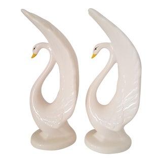 Vintage Porcelain Swan Figurines - a Pair For Sale