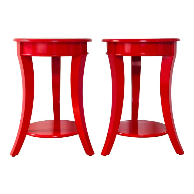 Red Lacquer Round Top End Tables - a Pair For Sale