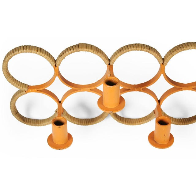 Lacquer Orange Lacquered Wrought Iron Wall-Mounted Candelabra For Sale - Image 7 of 9