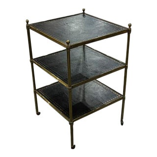 1950s English Traditional Leather and Brass Three Tired Table For Sale