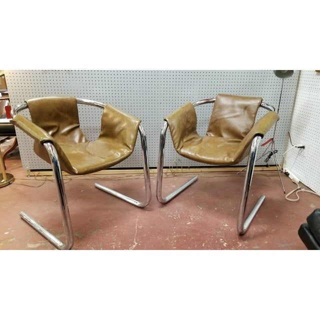 Metal Italian Zermatt Sling Chairs by Vector Group in Original Distressed Cognac Vinyl and Tubular Chrome Frame - Pair For Sale - Image 7 of 7