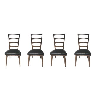 Brown Ladder-Back Chairs With Black Leather Seat For Sale