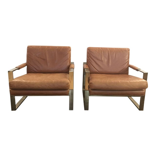 Milo Baugman by Thayer Coggin Brown Leather Chairs - a Pair - Image 1 of 6