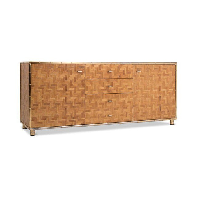 Hollywood Regency Hollywood Regency Sideboard in Rattan and Bamboo, 1970s For Sale - Image 3 of 9