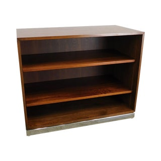 Milo Baughman Style Mid Century Modern Walnut & Chrome Low Bookcase Stand For Sale