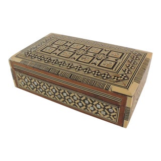 Syrian Wood and Mother-Of-Pearl Inlaid Jewelry Box For Sale