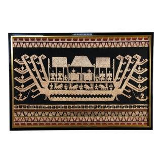Large Vintage Framed Ethnic Textile Art Wall For Sale