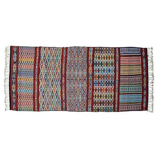 "Moroccan Kilim Rug - 12'4"" x 5' For Sale"