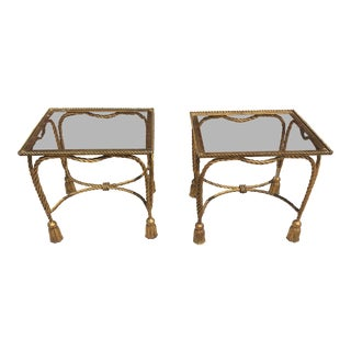 Hollywood Regency Italian Golt Gilt Rope and Tassel Glass Top Side Tables - Pair For Sale