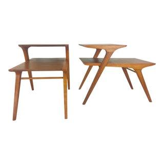 Drexel Mid-Century Modern Walnut End Tables - A Pair