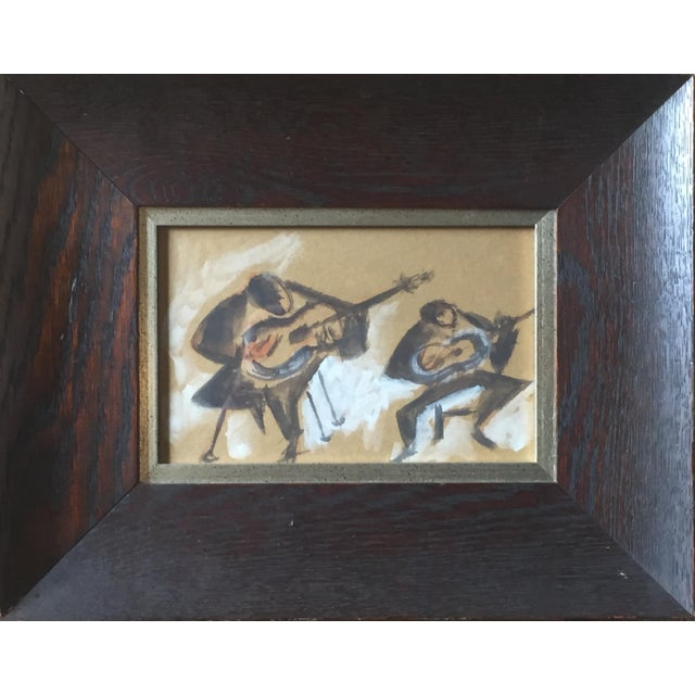 """Carmen Amaya Flamenco Guitarists"" Gouache Painting - Image 1 of 6"