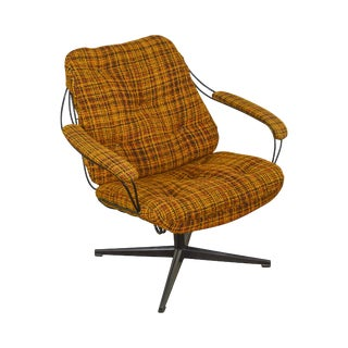 Homecrest Mid Century Modern Metal Wire Swivel Lounge Chair For Sale
