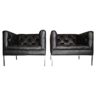 Modern Matching Black Leather Tufted Cube Chairs on Stainless Steel Bases For Sale