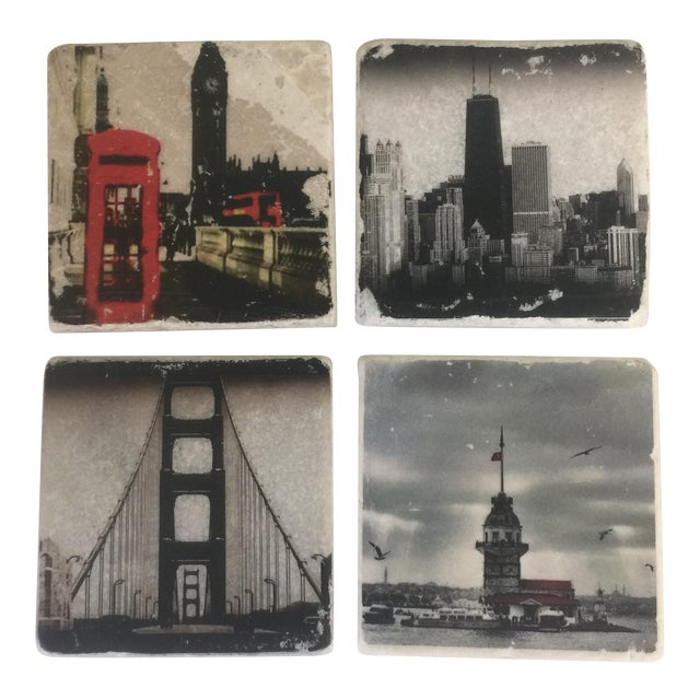 World Cities Coaster, Set of 4 For Sale