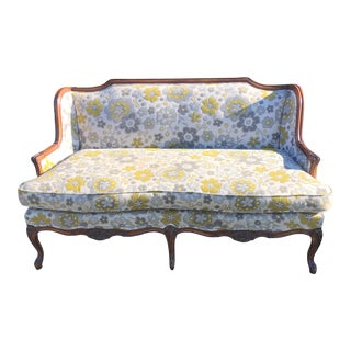 1980s Vintage Floral French Style Settee For Sale