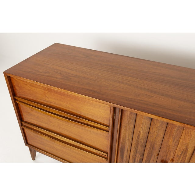 Wood Thomasville Brutalist Mid Century Walnut Lowboy Dresser For Sale - Image 7 of 13