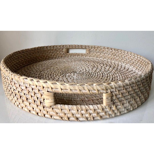 "Beige Artifacts Rattan 18""Round Tray For Sale - Image 8 of 10"