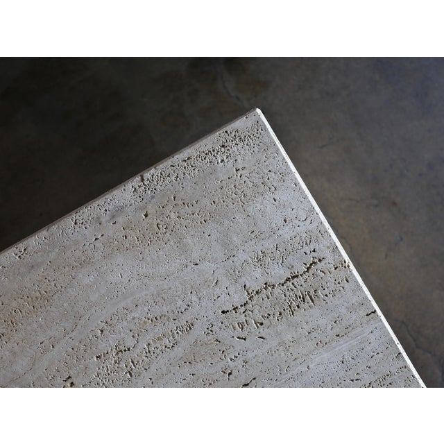 Angelo Mangiarotti Sculptural Modernist Travertine Side Table, Circa 1980 For Sale - Image 4 of 13