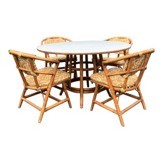 Vintage Bamboo Table & Set of Four Chairs For Sale