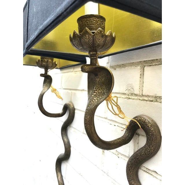 1960s Vintage Exotic Brass Cobra Snake Wall Sconces - a Pair For Sale - Image 5 of 7