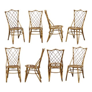 French Rattan Dining Chairs - Set of 8 For Sale
