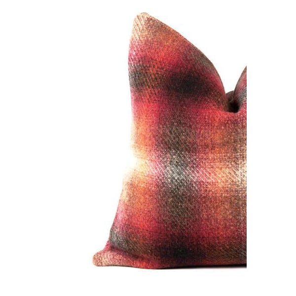 Professionally crafted pillow featuring a vintage plaid wool. Beautiful ombre red, pink, yellow, and grey hues. Modern...