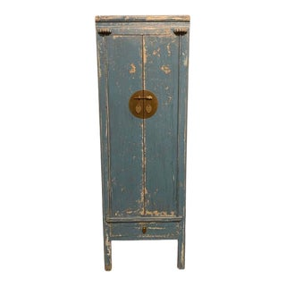 Distressed Blue Tall Cabinet For Sale