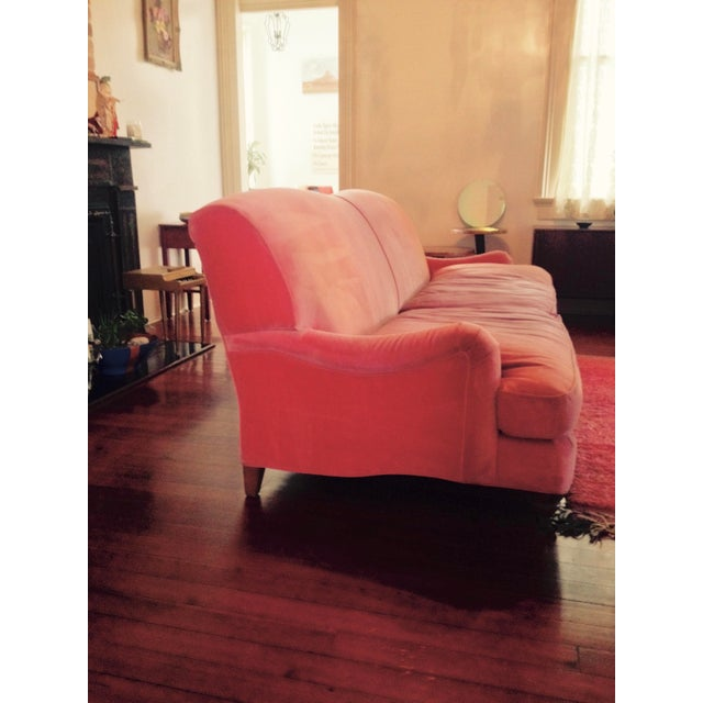 American Large Pink Velvet Couch For Sale - Image 3 of 5