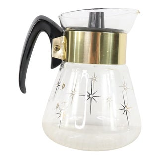 1960s Vintage Corning Mid Century Modern 6 Cup Starburst Gold Foil Coffee Carafe For Sale