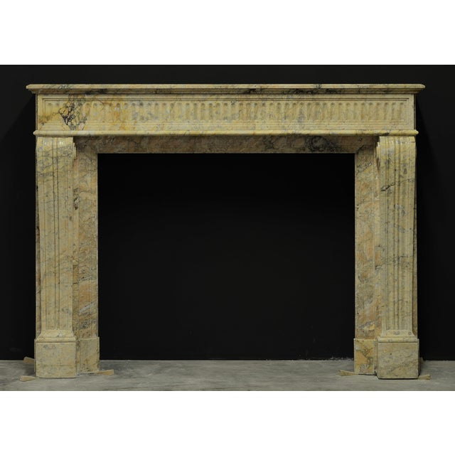 Antique Escallete Marble Louis XVI Fireplace Mantel - Free Shipping - For Sale - Image 6 of 9