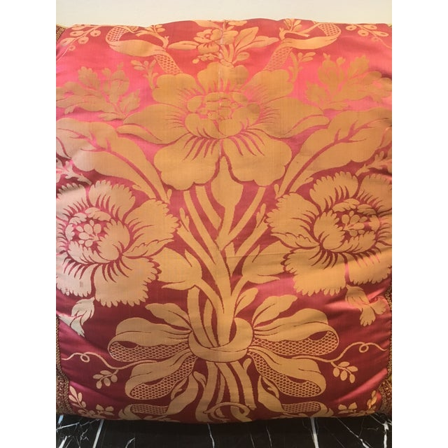 These are room-stunner pillows! They were custom made by a designer to showcase the gorgeous vintage fuchsia & gold silk...