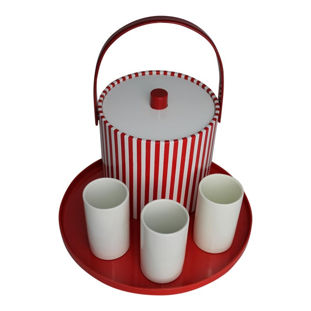 Mid-Century Red & White Ice Bucket, Tumblers and Tray Beverage Set For Sale