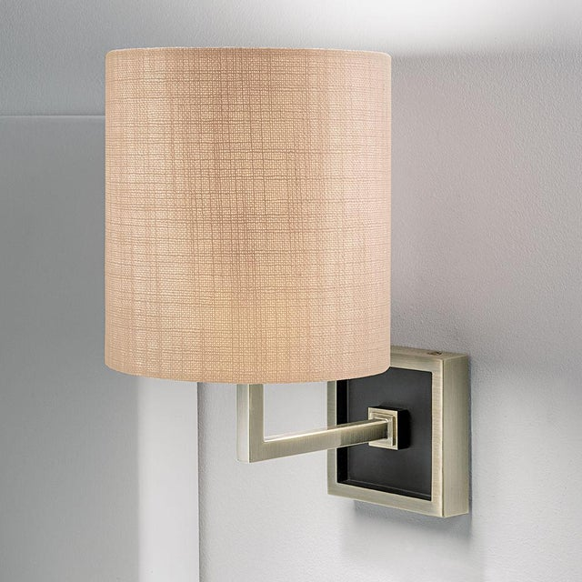 Mid-Century Modern Wall Lamp in Antique Brass and Satin Black For Sale - Image 3 of 3