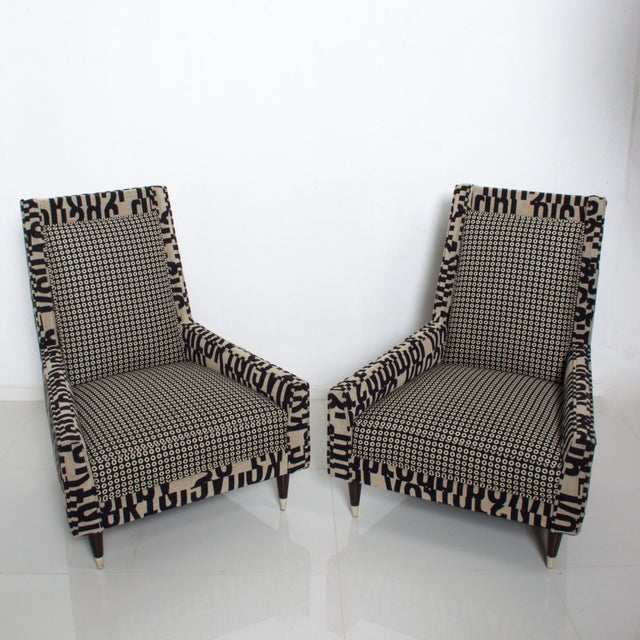 Gio Ponti Style by Arturo Pani Wild Wingback Lounge Chairs Midcentury Pair 1969 For Sale - Image 10 of 10