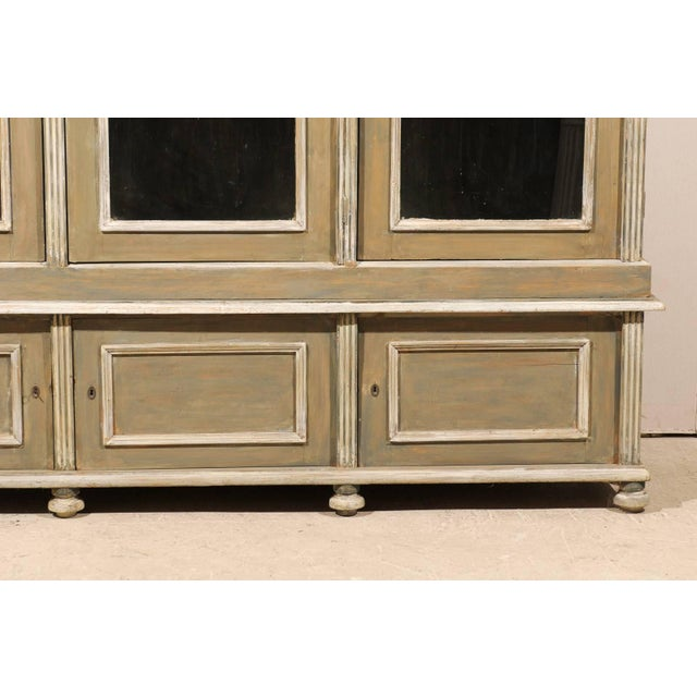 French 19th Century Wood Cabinet With Three Glass Doors Raised on Round Feet For Sale - Image 9 of 10
