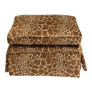 Giraffe Velvet Skirted Ottoman For Sale
