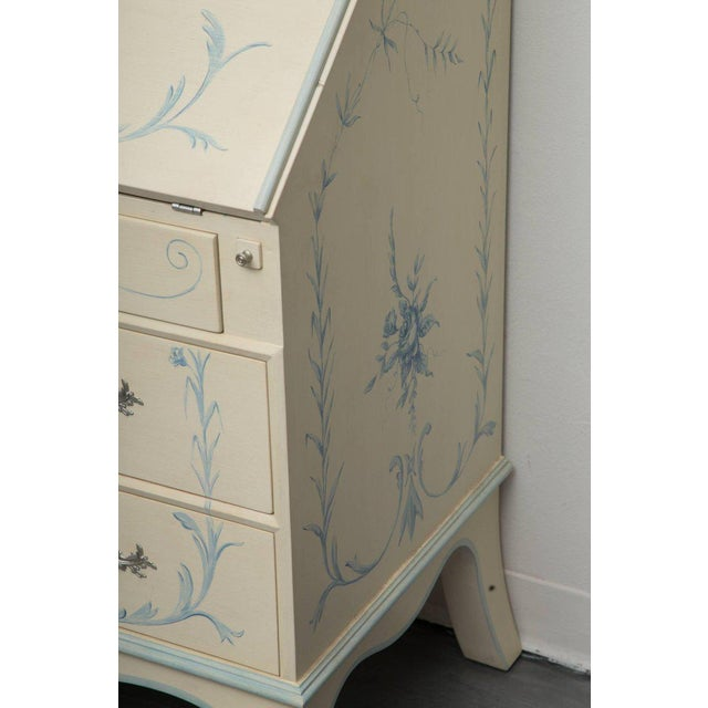 Custom Hand-Painted Secretary Desk with Mirrored Doors For Sale In West Palm - Image 6 of 10