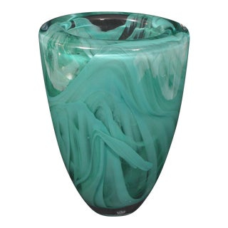 "Kosta Boda Sweden Jade Green/Teal Atoll Swirl Art Glass Vase Anna Ehrner Scandinavian Glass, 8""x6"" For Sale"