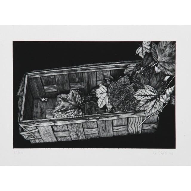 Modern Gerde Ebert, Basket of Leaves, Mezzotint For Sale - Image 3 of 3