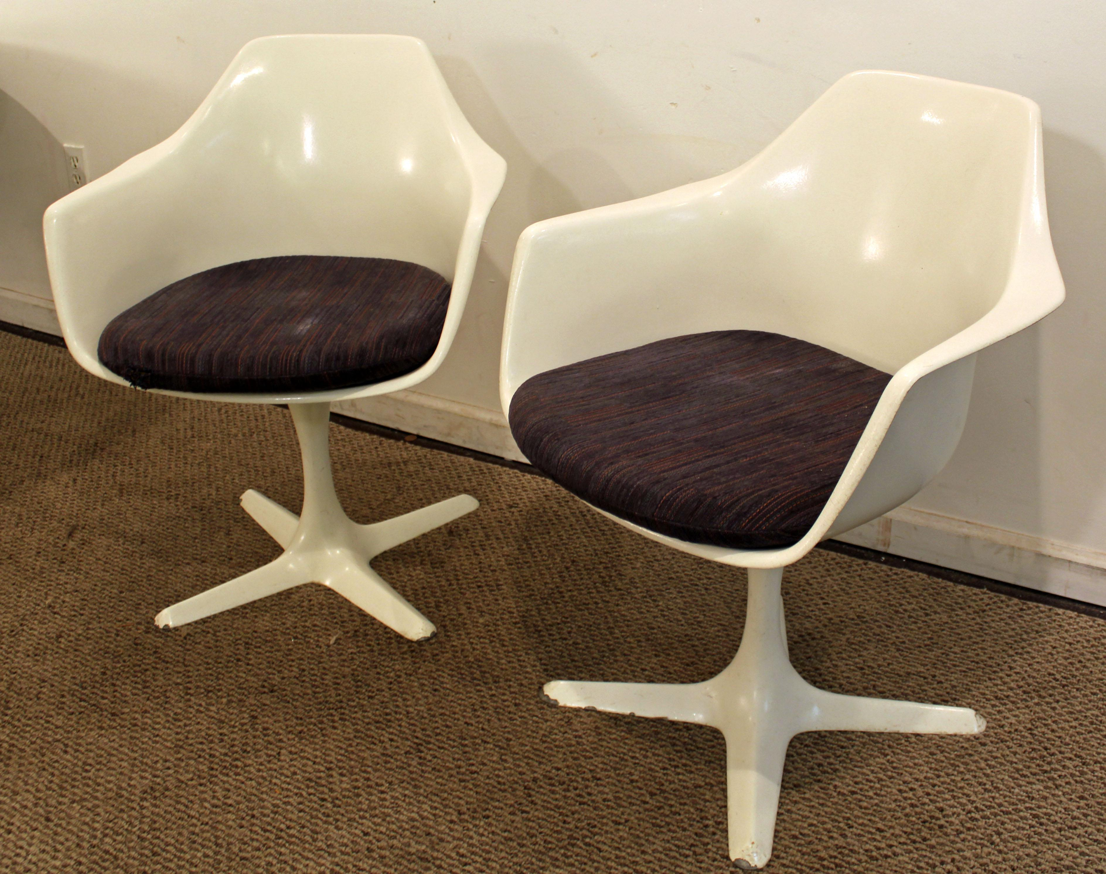 Mid Century Modern Burke Saarinen Style White Tulip Dining Chairs   A Pair    Image