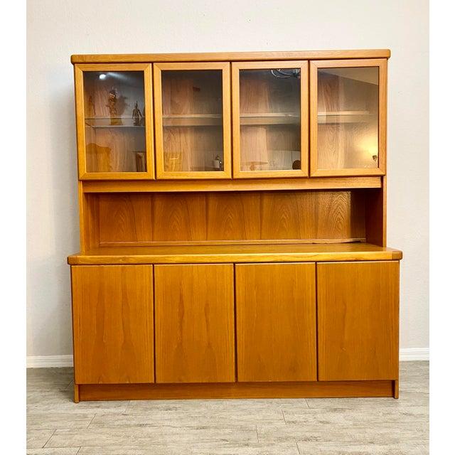 Cinnamon Christian Linneberg Danish Teak Mid Century Modern 2-Piece Buffet Hutch For Sale - Image 8 of 8