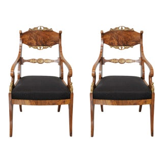 Pair of Russian Neoclassic Circassian Walnut and Parcel-Gilt Chairs For Sale