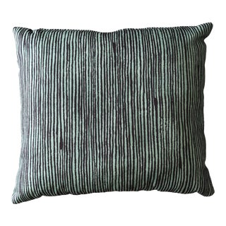 Boho Chic Outdoor Green Striped Throw Pillow For Sale