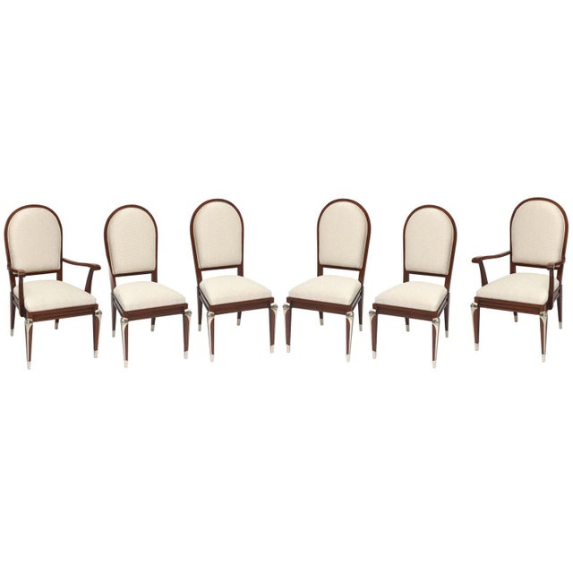 Set of Eight Jean Pascaud Mahogany and Silvered Bronze-Mounted Dining Chairs For Sale In Miami - Image 6 of 11