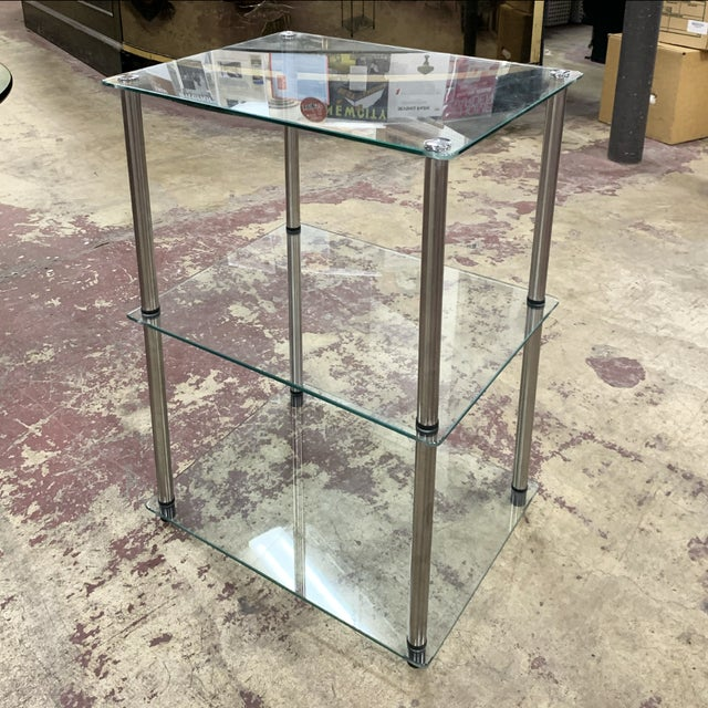 1970s Mid-Century Modern 3-Tier Chrome and Glass Side Table For Sale In Chicago - Image 6 of 6