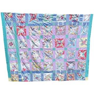 Vintage Hand Stitched Summer Star Quilt For Sale